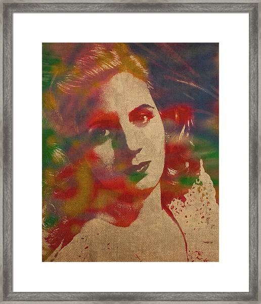 Evita Eva Peron Watercolor Portrait On Worn Distressed Canvas Framed Print