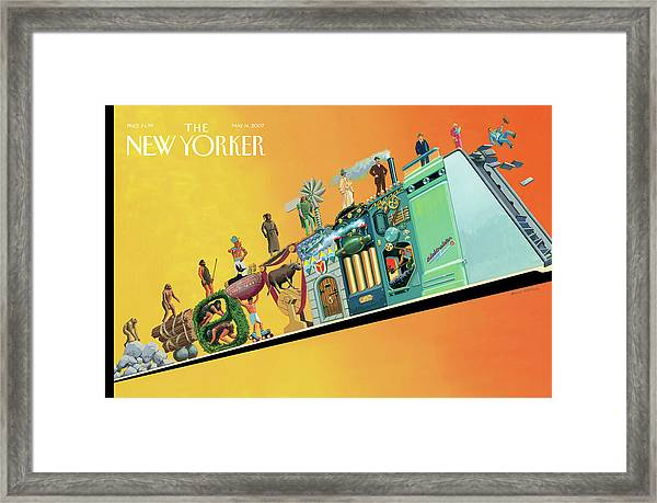 Evolution Of Man And Inventions Framed Print by Bruce McCall