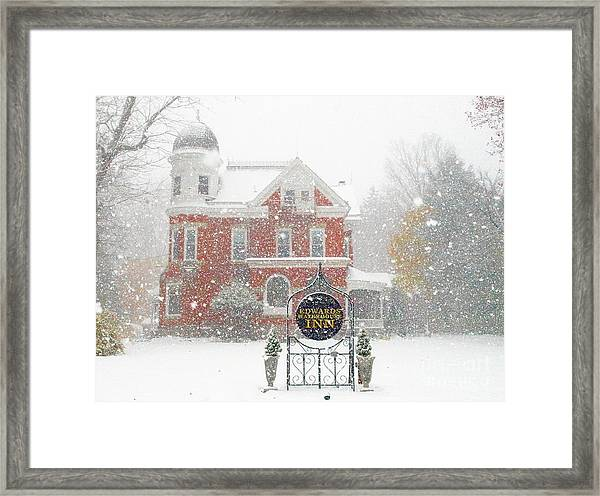 Edwards Waterhouse Inn In Winter Framed Print