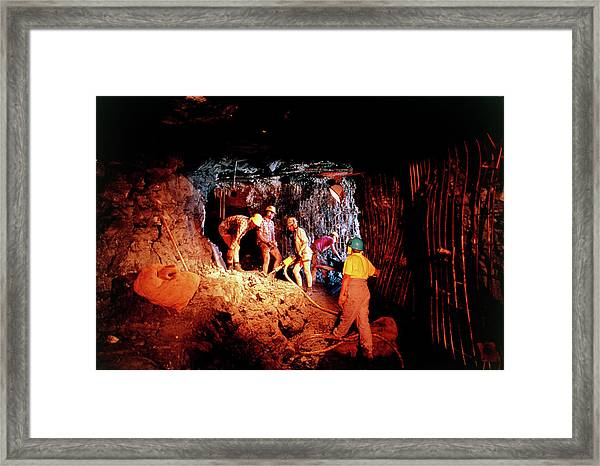 Excavating Overburden In Dinosaur Cove Framed Print