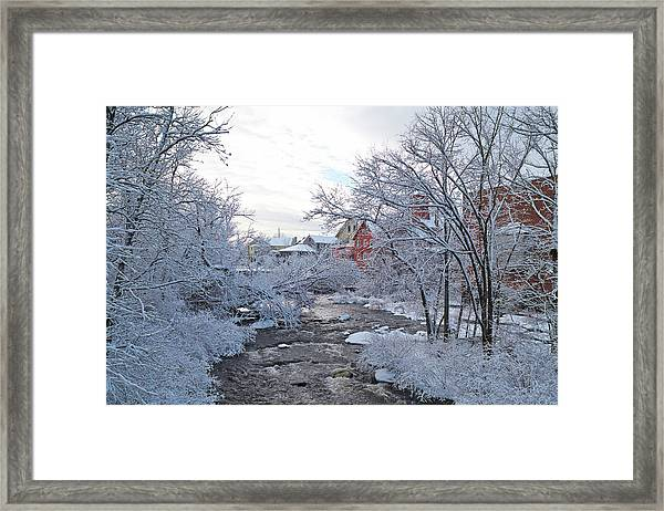 Exeter River With Snow And Ice Framed Print