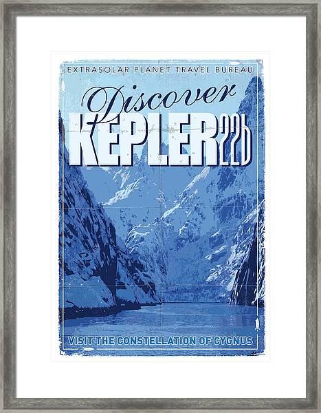 Exoplanet 02 Travel Poster Kepler 22b Framed Print