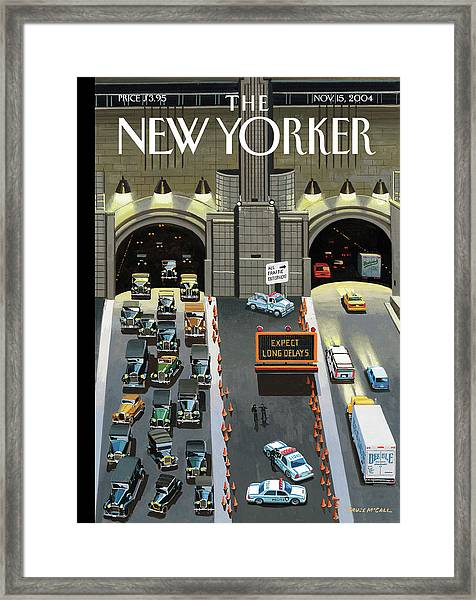 Expect Long Delays Framed Print by Bruce McCall