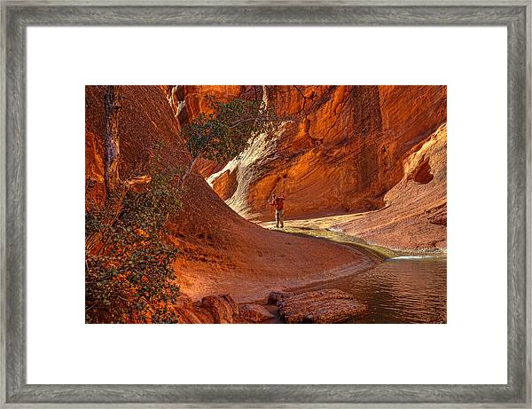 Exploring The Canyon Framed Print