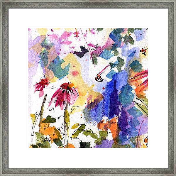 Expressive Watercolor Flowers And Bees Framed Print
