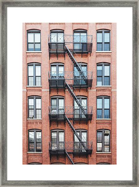 Exterior Of Buildings In New York City Framed Print by Deimagine