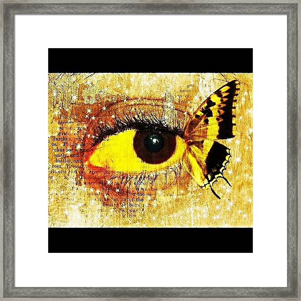 #eye #butterfly #brown #black #edit Framed Print