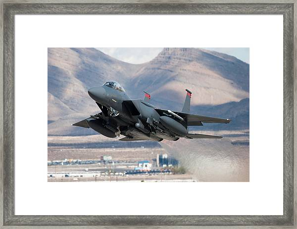 F-15e Strike Eagle Flying Past Mountains Framed Print by CT757fan