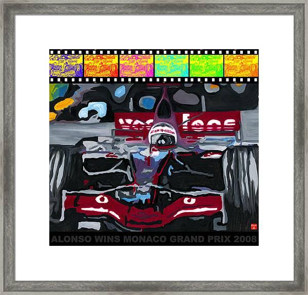 F1 Alonso Wins Monaco 2008 Pop 2 Framed Print