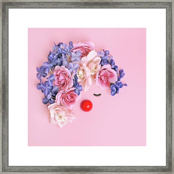 Face Made From Flowers And False Framed Print by Juj Winn