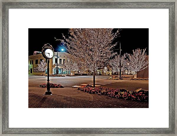 Fairhope Ave With Clock Night Image Framed Print