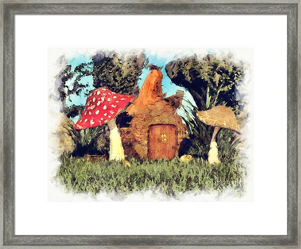 Fairy House With Toadstool Framed Print