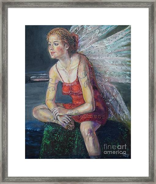 Fairy On A Stone Framed Print