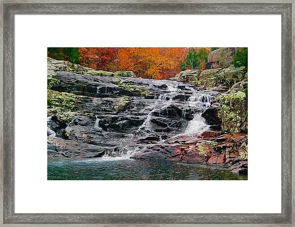 Fall At Black Falls Framed Print by Larry Bodinson