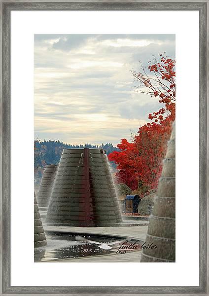 Harborside Fountain Park II Framed Print