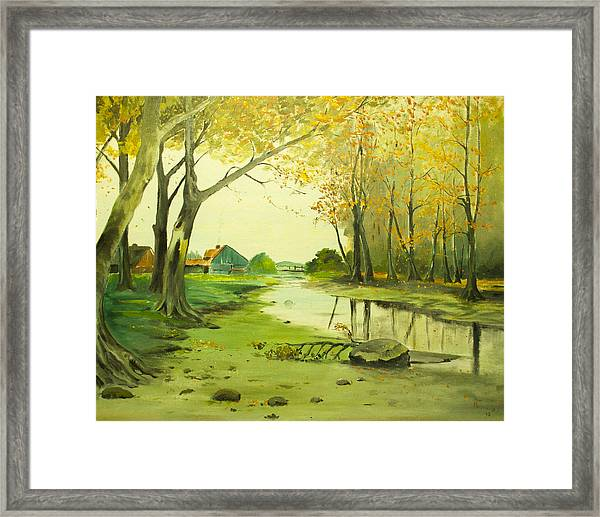 Fall By The Stream By Merlin Reynolds Framed Print
