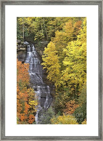 Fall Color Surrounds Chapel Falls On The Michigan Upper Peninsula Framed Print