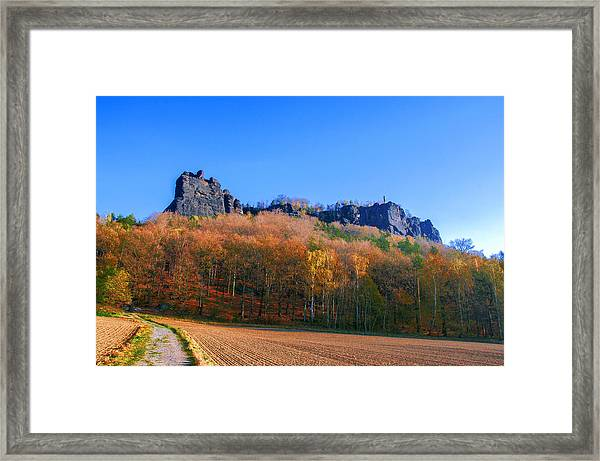 Fall Colors Around The Lilienstein Framed Print