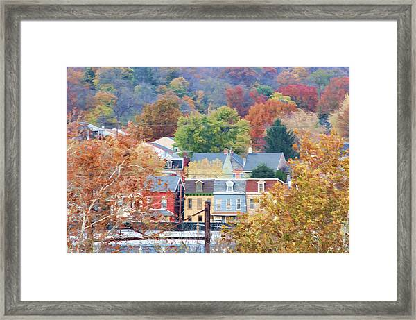 Framed Print featuring the photograph Fall Colors In Columbia Pennsylvania by Beth Sawickie