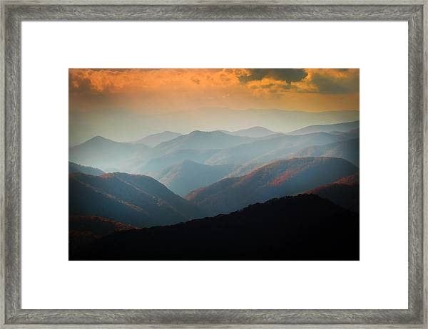Fall Foliage Ridgelines Great Smoky Mountains Painted  Framed Print
