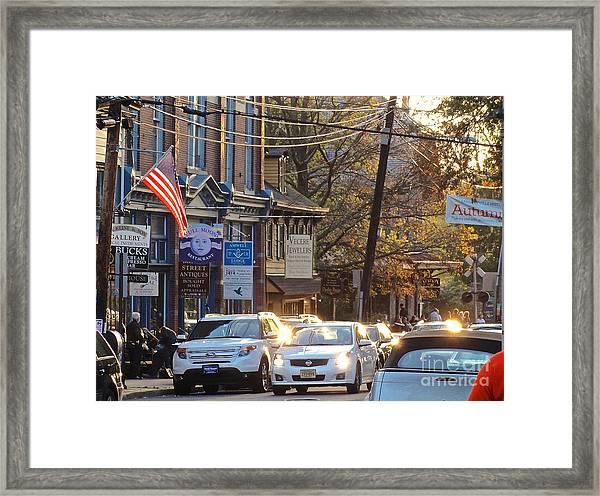 Fall On Bridge Framed Print