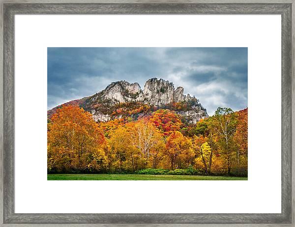 Fall Storm Seneca Rocks Framed Print