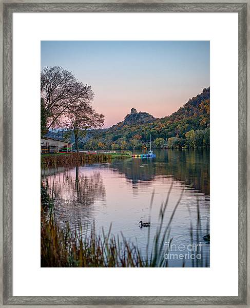 Framed Print featuring the photograph Fall Sugarloaf With Duck by Kari Yearous