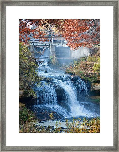 Framed Print featuring the photograph Falls At Pickwick Mill by Kari Yearous