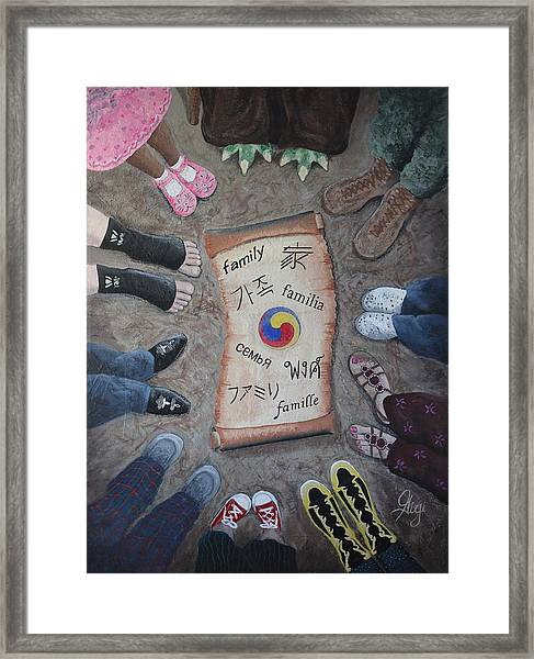 Framed Print featuring the painting Famille Nomdaaa by Gigi Dequanne