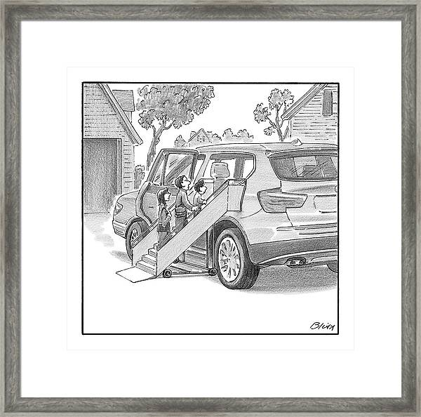 Family Entering Their Suv With The Aid Of A Large Framed Print