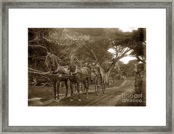 Family Out Carriage Ride On The 17 Mile Drive In Pebble Beach Circa 1895 Framed Print