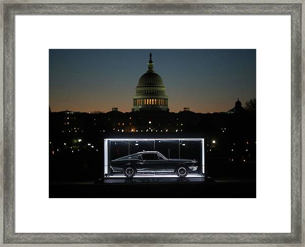 Famous Bullitt Mustang On Display On Framed Print by Mark Wilson