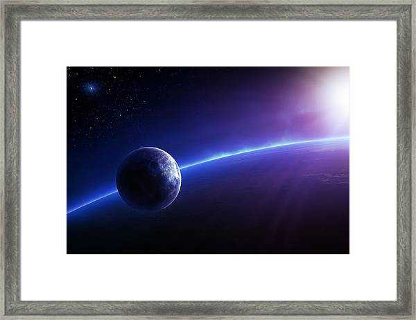 Fantasy Earth And Moon With Colourful  Sunrise Framed Print