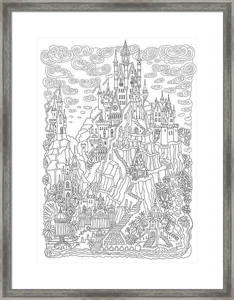 Fantasy Landscape. Fairy Tale Castle On Framed Print
