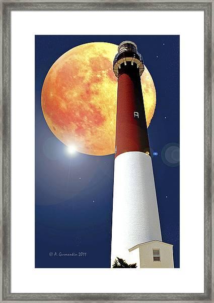 Fantasy Lighthouse And Full Moon Poster Image Framed Print