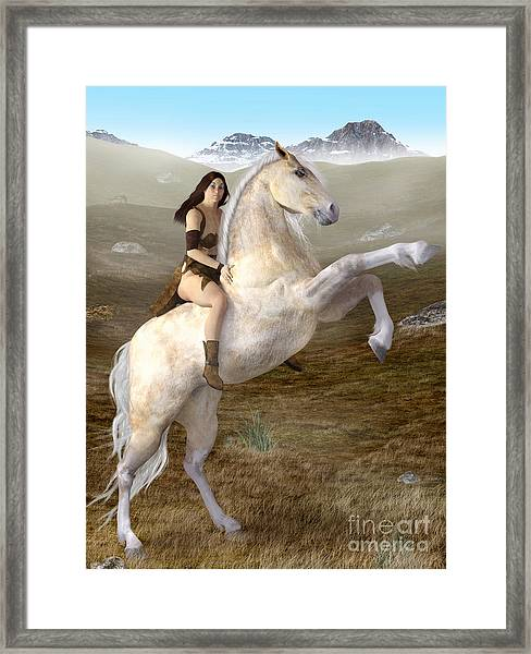Fantasy Woman On Rearing Horse Framed Print