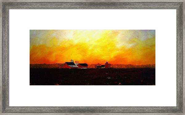 Farm At Dawn Framed Print