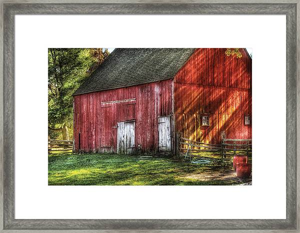 Farm - Barn - The Old Red Barn Framed Print