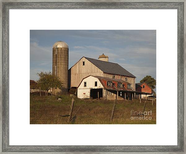 Farm House At Sundown Framed Print