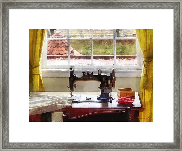 Farm House With Sewing Machine Framed Print