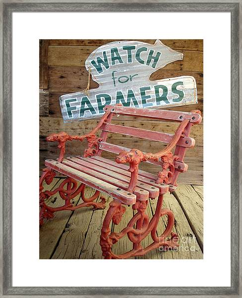 Farmer Bench Framed Print