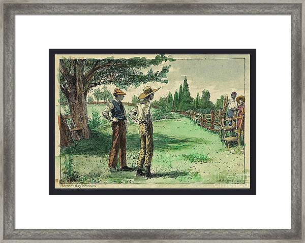 Farmers In Pasture With Trees 1885 Hand Tinted Etching  Framed Print