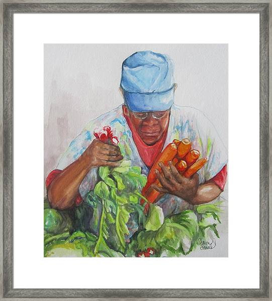 Farmers Market Vendor Framed Print