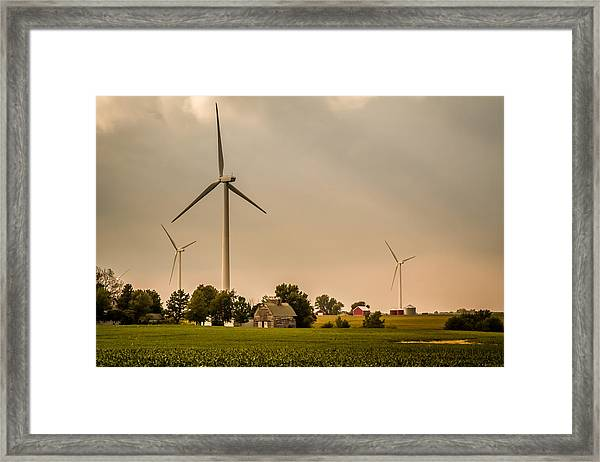 Farms And Windmills Framed Print