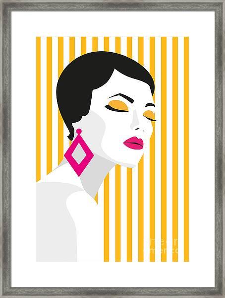 Fashion Girl. Bold, Minimal Style. Pop Framed Print