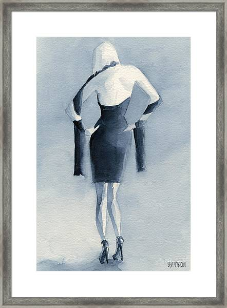 Fashion Illustration Art Print Woman In Blue Dress Back Framed Print by Beverly Brown
