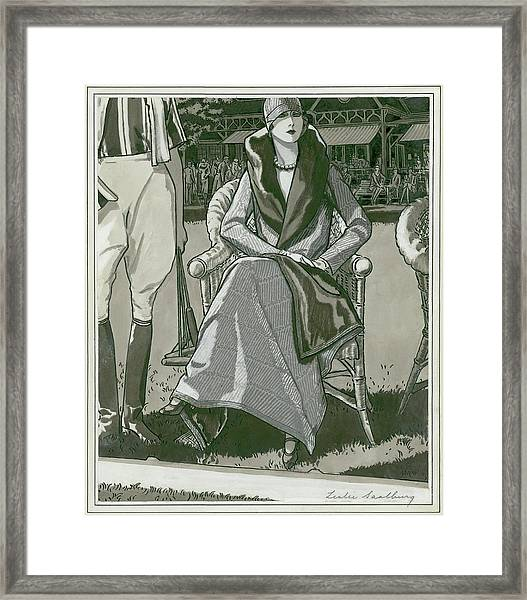 Fashion Illustration Of A Woman Framed Print by Leslie Saalburg