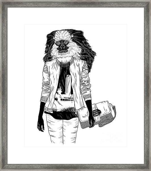 Fashion Monkey With Bag For Poster Or Framed Print