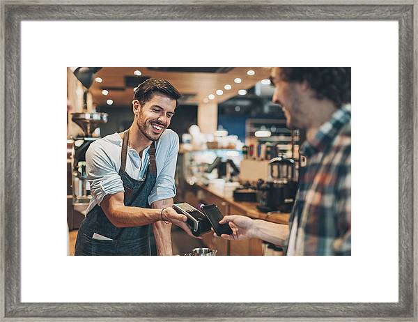 Fast And Easy Payment In The Coffee Shop Framed Print by Pixelfit