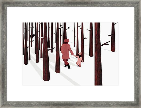 Father And Daughter Holding Hands Framed Print